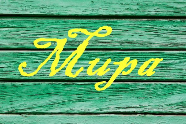 Имя Мира на фоне древесины