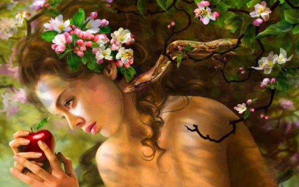 Ева, змей и яблоко