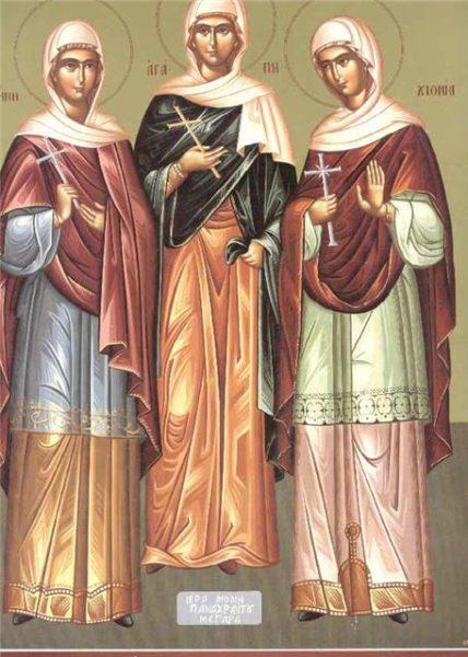 Икона святых Агапии, Ирины и Хионии