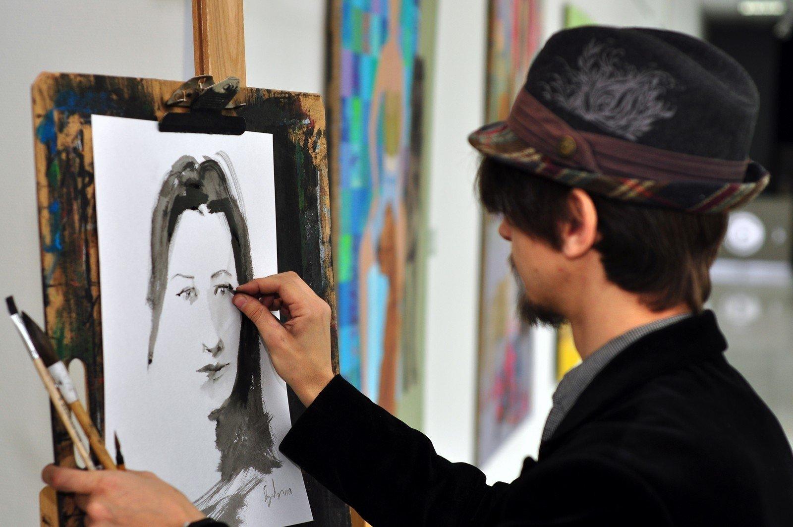 сошечке, художник пишет картину картинки что самом вертеле