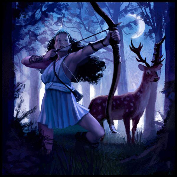 Богиня Диана с луком и олень