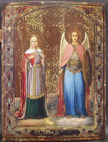 Икона святой Александры Римской с Архангелом Михаилом