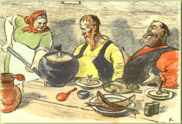 Иллюстрация к басне И. А. Крылова «Демьянова уха»