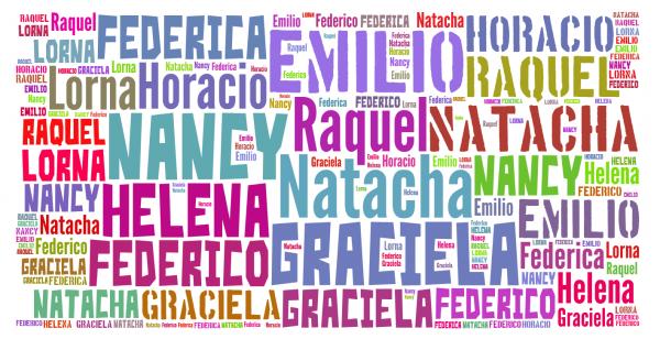 Различные разноцветные имена на белом фоне