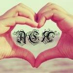 Имя Ася в сердечке из рук