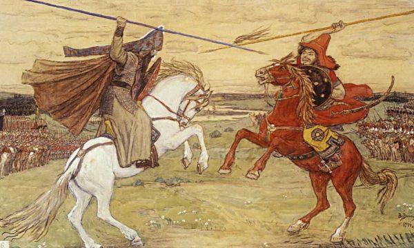 Картина «Битва Пересвета с Челубеем»