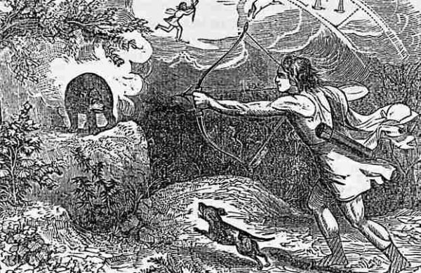 Царь Аркадий на охоте и его мать, превращённая Зевсом в медведицу