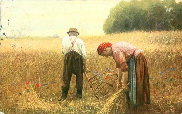 Крестьянские мужчина и женщина в поле