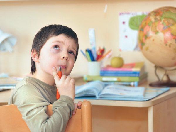 Мальчик задумался над уроками