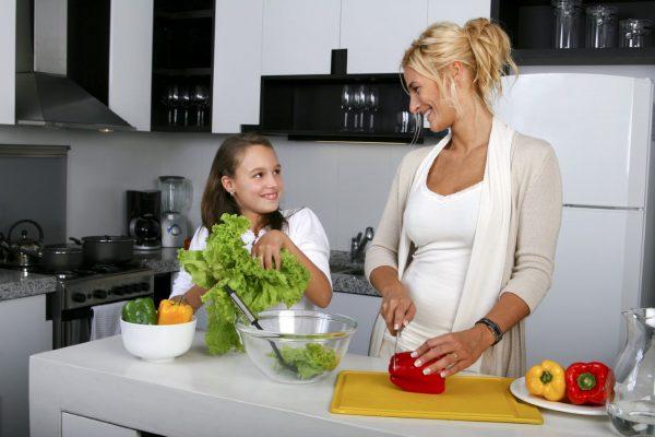 Мама и дочь на кухне